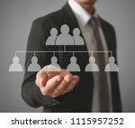 hand touch a virtual icon of... | Shutterstock . vector #1115957252