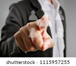 hand touch a virtual icon of... | Shutterstock . vector #1115957255