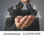 hand touch a virtual icon of... | Shutterstock . vector #1115957495