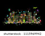 colorful metropolis  abstract... | Shutterstock .eps vector #1115969942