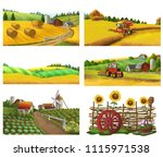 farm  rural landscape  vector... | Shutterstock .eps vector #1115971538