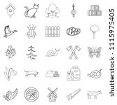 settlement icons set. outline... | Shutterstock . vector #1115975405