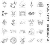 settlement icons set. outline... | Shutterstock . vector #1115975405