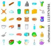 kitchen mitten icons set.... | Shutterstock . vector #1115976986