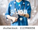 doctor pushing button job... | Shutterstock . vector #1115980058