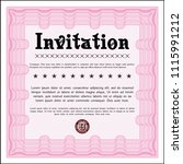 pink vintage invitation. with... | Shutterstock .eps vector #1115991212