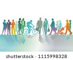 colorful crowd in the city | Shutterstock .eps vector #1115998328