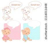 baby shower set. cute baby wave ... | Shutterstock .eps vector #1116011648
