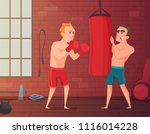 boxer training. male hits to... | Shutterstock .eps vector #1116014228
