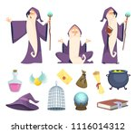 set of magician tools and male... | Shutterstock .eps vector #1116014312