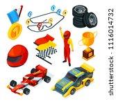 sport racing symbols. isometric ... | Shutterstock .eps vector #1116014732