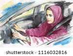 hand drawn arabian woman drive... | Shutterstock . vector #1116032816