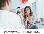 home photo shoot. positive... | Shutterstock . vector #1116034682