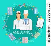 ambulance poster with flat... | Shutterstock .eps vector #1116048722