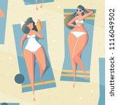women  sunbathing on the beach... | Shutterstock .eps vector #1116049502