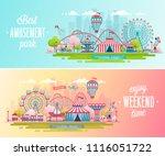 amusement park landscape... | Shutterstock .eps vector #1116051722