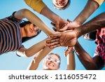 bottom view of multiracial... | Shutterstock . vector #1116055472