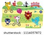 a landscape with cute little... | Shutterstock .eps vector #1116057872