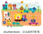 a landscape with cute little... | Shutterstock .eps vector #1116057878