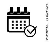 calendar check symbol icon... | Shutterstock .eps vector #1116059696