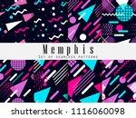 memphis seamless pattern.... | Shutterstock .eps vector #1116060098