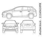 5 doors hatchback city car... | Shutterstock .eps vector #1116061898