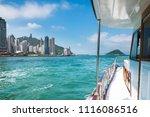 pleasure boat moving across... | Shutterstock . vector #1116086516