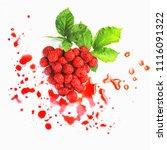 raspberry in the shape of heart ... | Shutterstock . vector #1116091322