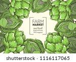 artichoke hand drawn... | Shutterstock .eps vector #1116117065
