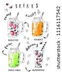 hand drawn summer fruit... | Shutterstock .eps vector #1116117542
