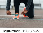 detail of sporty swman lacing... | Shutterstock . vector #1116124622