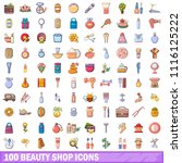 100 beauty shop icons set.... | Shutterstock . vector #1116125222