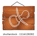 pacifier doodle icon on wooden... | Shutterstock .eps vector #1116128282