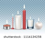 vector set of realistic burning ... | Shutterstock .eps vector #1116134258
