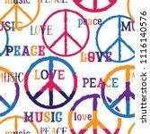 hippie peace symbol. peace ... | Shutterstock .eps vector #1116140576