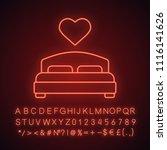 lovers bed neon light icon.... | Shutterstock .eps vector #1116141626
