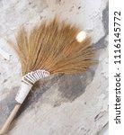 old grass broom on a broken... | Shutterstock . vector #1116145772