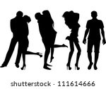 set of black silhouettes of... | Shutterstock .eps vector #111614666