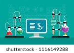 chemical experiment. computer... | Shutterstock .eps vector #1116149288