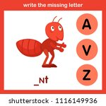 write the missing letter... | Shutterstock .eps vector #1116149936