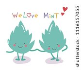 mint leaf we love friend vector ... | Shutterstock .eps vector #1116157055