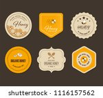 honey bee label and banner.... | Shutterstock .eps vector #1116157562