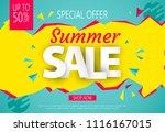 summer sale banner design for... | Shutterstock .eps vector #1116167015