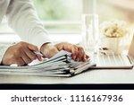 businessman hands holding pen... | Shutterstock . vector #1116167936