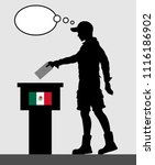 mexican voter young man voting... | Shutterstock .eps vector #1116186902