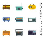 radio receiving station icons... | Shutterstock .eps vector #1116213635