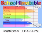 school timetable  a weekly... | Shutterstock .eps vector #1116218792