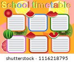 school timetable  a weekly... | Shutterstock .eps vector #1116218795