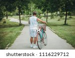 man comes back from recreation | Shutterstock . vector #1116229712