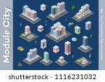 a set of isometric city objects ... | Shutterstock .eps vector #1116231032